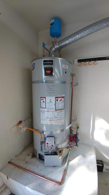 Install 75 Gallon Ultra lox NOX water heater with circulation pump.