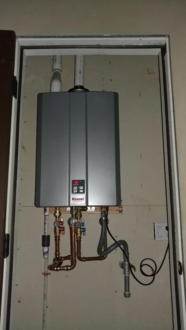 Installed new Rinnai RU199IN tankless water heater.