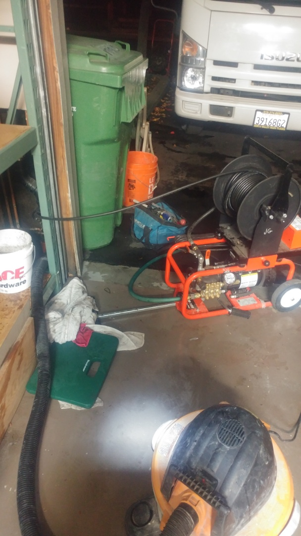 Yountville, CA - Just finished unclogging a kitchen drain pipe with a power jetting machine.