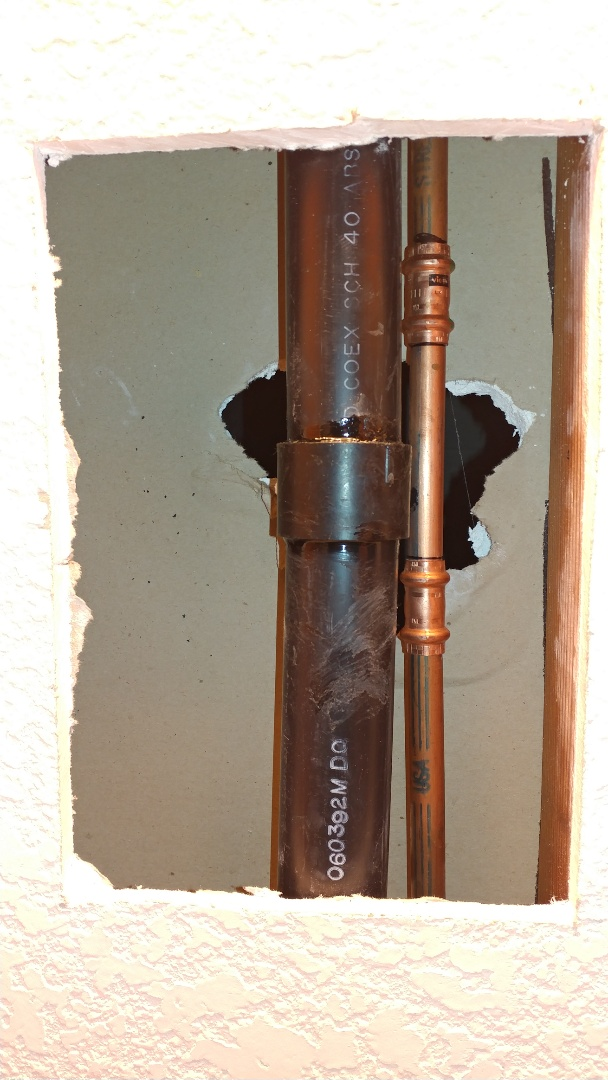 Fairfield, CA - Repaired leaking water line in wall.