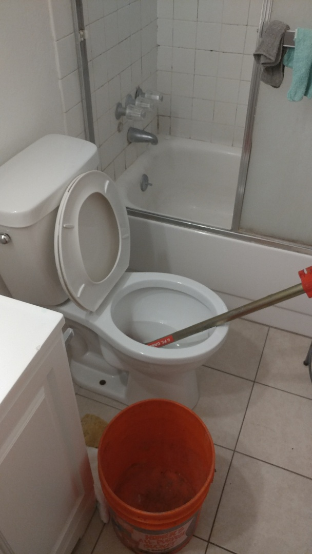 Just finished unclogging a toilet with commercial auger.