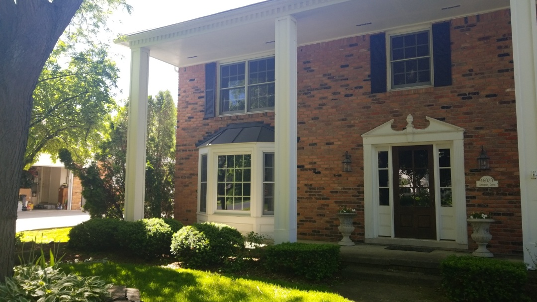 Plymouth, MI - Replace trim boards on columns and Bay windows.  Another great job by Kearns Brothers.