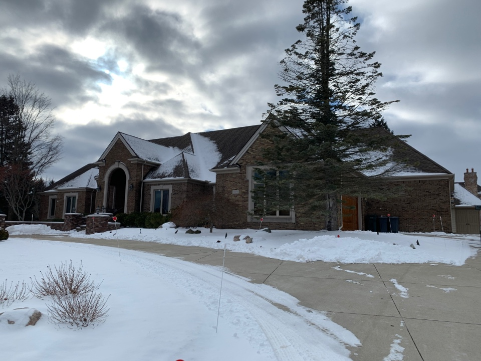 Plymouth, MI - Kearns Brothers Inc. Roof replacement. Remove the existing roofing and install new GAF  Timberline HD Z lifetime roofing system.  Replacing the existing gutter system with a new 6 inch commercial grade gutter system.