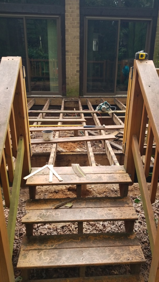 Reston, VA - DECK RESURFACE-REPLACING FLOORBOARDS, TOP OF RAILINGS, AND 6 SUPPORT POSTS