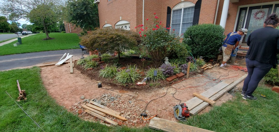 Stamped concrete walkway install in Fairfax County Centreville, VA  VANQUISH HOME SERVICES 571-200-9628