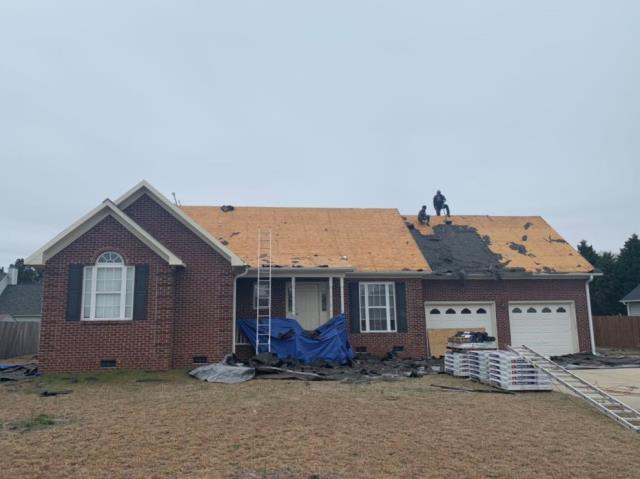 Raeford, NC - ATD Restoration takes pride in being your trusted roofing contractor. Here we are about to finish tearing off the old shingles. Getting ready to install some beautiful GAF Timberline HD shingles in the color Shakewood!