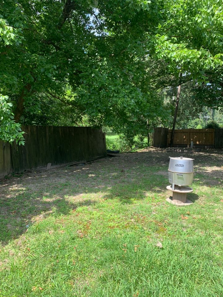 New Caney, TX - Roof inspection due to the recent hail storm. Evaluating drainage problem in the backyard and replacing a wooden fence. The customer also wants trees trimmed in the backyard.