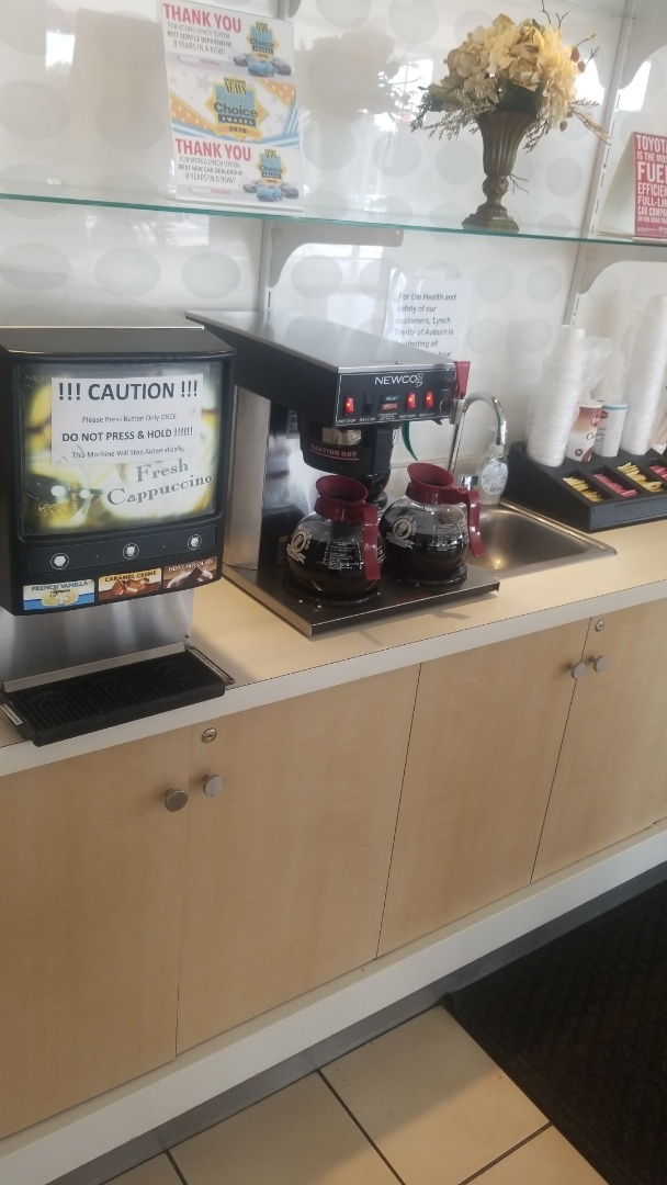 Providing great quality coffee service at a great car dealership Lynch Toyota!