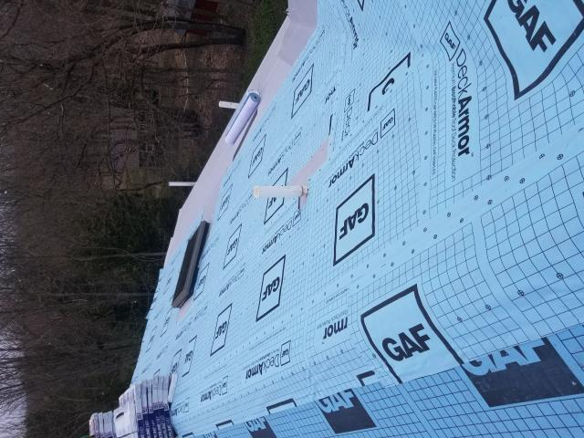 East Aurora, NY - This roof deck has been prepped with GAF DeckArmor underlayment, Storm Guard ice shield and is ready for shingles!