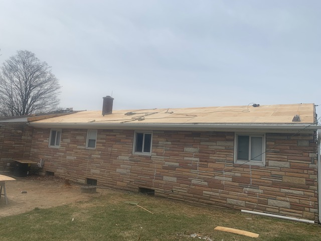 "North Collins, NY - This roof was found to have deteriorated plywood during tear-off. We replaced it all with new 1/2"" CDX plywood to ensure the new roof, including GAF Timberline HDZ shingles, have a solid base for attachment."