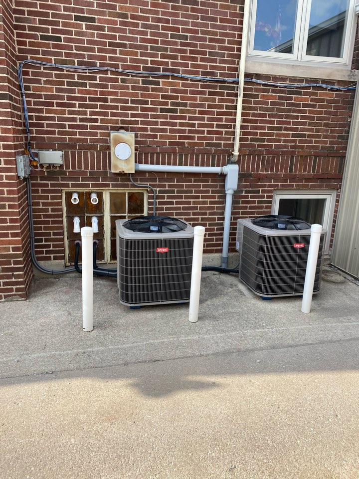 Install three Bryant furnaces and two air conditioners.