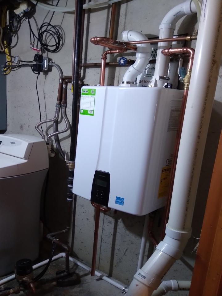 Install Navien tankless water heater.