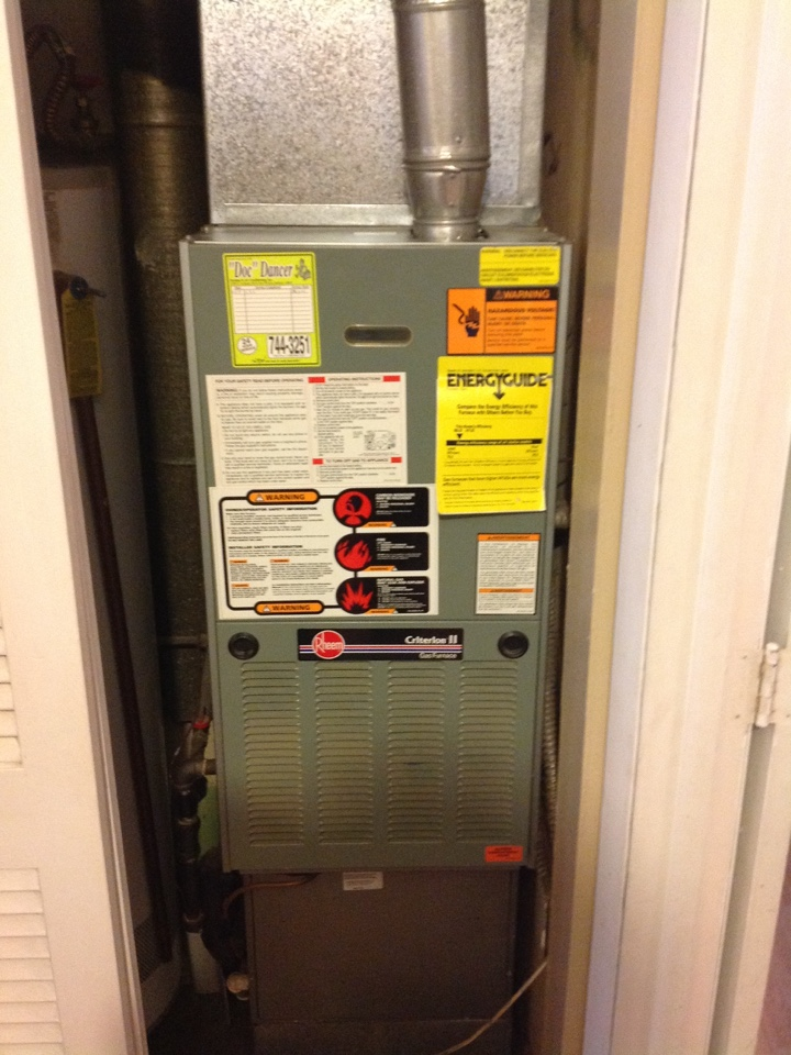 New Haven, IN - Furnace service call on Rheem 80% gas furnace