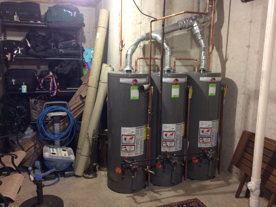 Roanoke, IN - Installing 3 new Rheem 50 gallon water heaters.