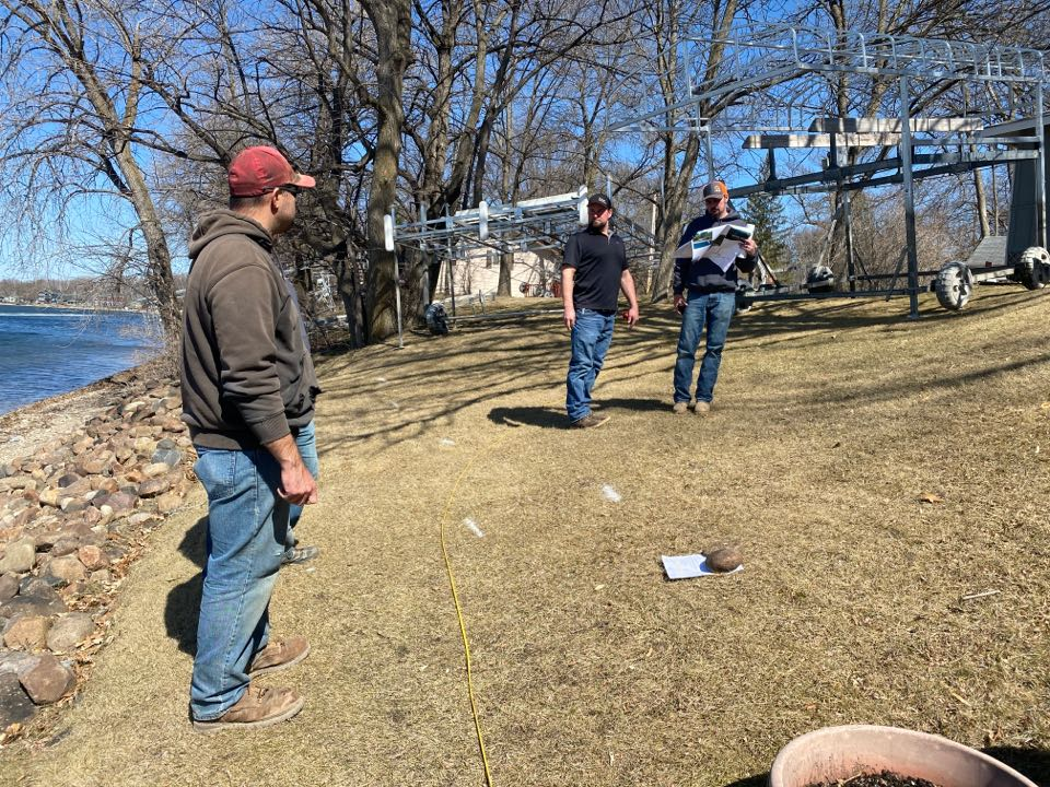 Litchfield, MN - Pre construction job walk on Lake Minnie-Belle. Install of Boulder walls, flagstone patio and planting beds to come.