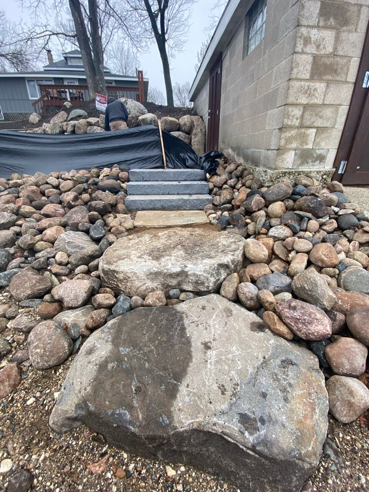 Litchfield, MN - Granite steps, flagstone and boulder steps installed for a path to the dock on Lake Minnie-Belle.