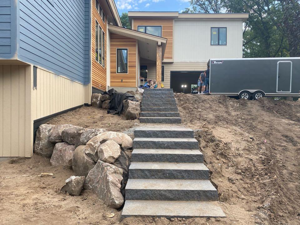 Big Lake, MN - Granite steps and boulder walls installed on lake Mitchell in big lake