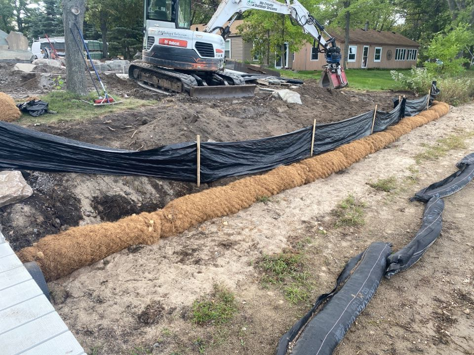 Big Lake, MN - COIR logs installed on lake Mitchell in big lake to help create a natural shoreline