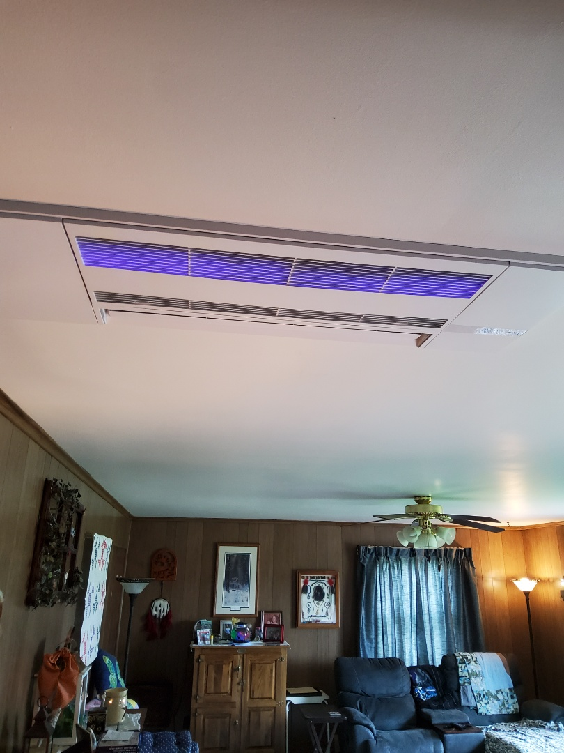 DuBois, PA - Cleaned and serviced ceiling Mitsubishi mini split air conditioner heat pumps. Installed LED UV lights in both units. This will promote better health and wellness.