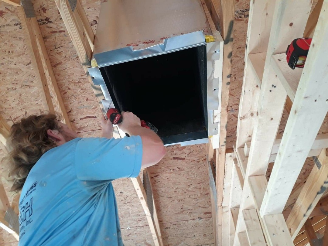 Punta Gorda, FL - Working a new construction, in Burnt Store Marina. The location of your main return is essential when installing duct work in a new home.