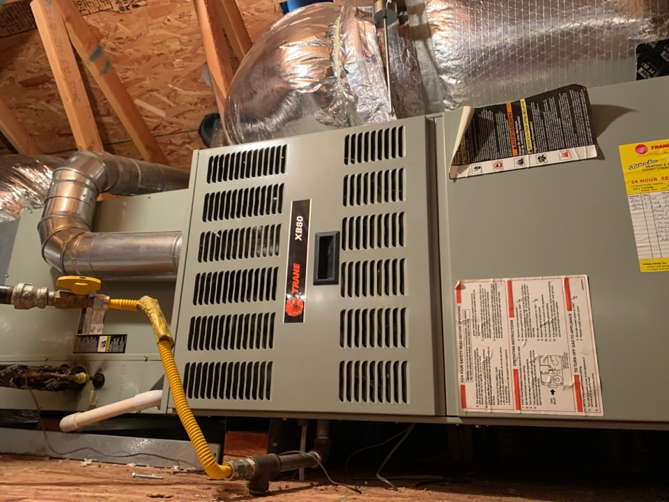 """Grants Pass, OR - Changing out this 80% gas furnace for  a new gas furnace that will operate at a 95% efficient gas furnace made by Carrier. We will also be modifying the gas line w a proper sediment trap. New system will vent via 2"""" PVC pipe through the roof."""