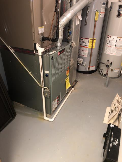 Hilliard, OH - Technician replaced part on RHEEM residential furnace for client.  Pictured is the customer's Rheem furnace.