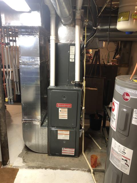 Delaware, OH - Diagnostic service performed on the Goodman Gas Furnace unit. Confirmed that the system is working within manufacturer specifications.   Pictured is the customer's Goodman Gas Furnace Unit.