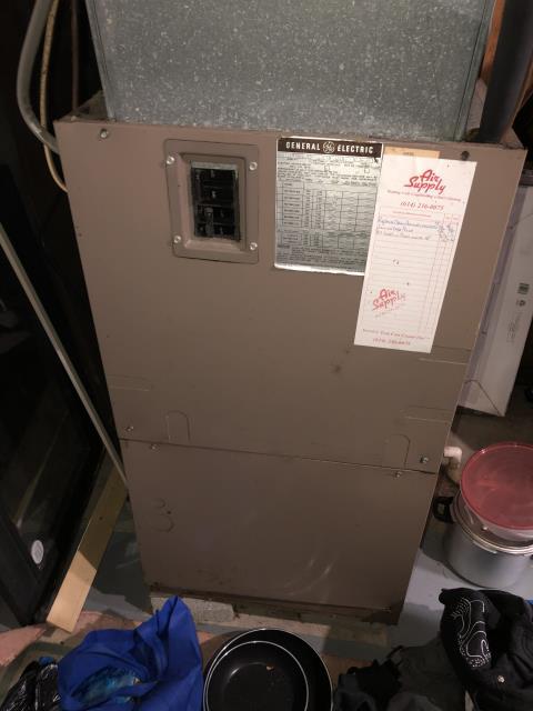 Dublin, OH - Diagnostic service performed on the GE Electric Furnace unit. Confirmed that the system is working within manufacturer specifications.  Pictured is the customer's GE Electric furnace Unit.