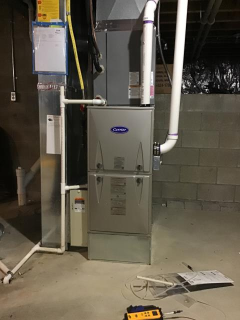 Powell, OH - Installed New Carrier Gas Furnace Ran Condensate Line & Set Gas Pressures On Carrier Gas Furnace To Keep Furnace Running Efficiently For The Winter Season