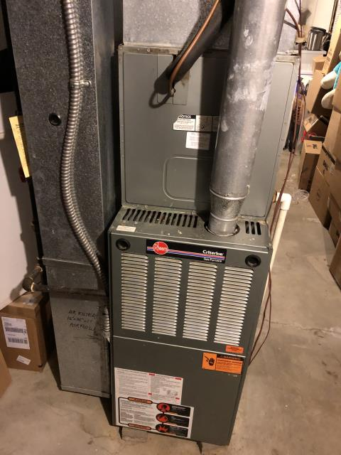 Canal Winchester, OH - Diagnosed Rheem furnace with faulty igniter, blower motor, and inducer motor. Due to the cost of repair and age of the system, the customer opted to purchase a new Carrier furnace and AC system.