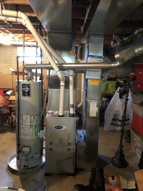 Pataskala, OH - Duct cleaning and tuneup on Carrier furnace. There was some drywall dust and dust on filter. Customer is replacing filter. All is operational at this time.