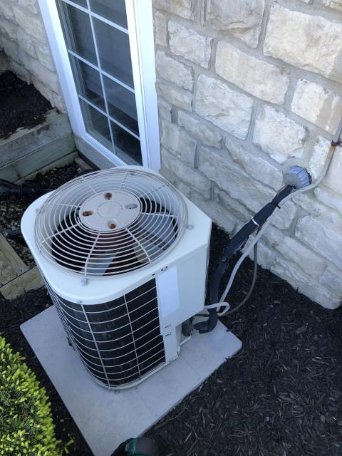 New Albany, OH - System has leak and is undercharged causing the compressor to overwork and over heat. Based on age and cost of repair I recommend replacing system.