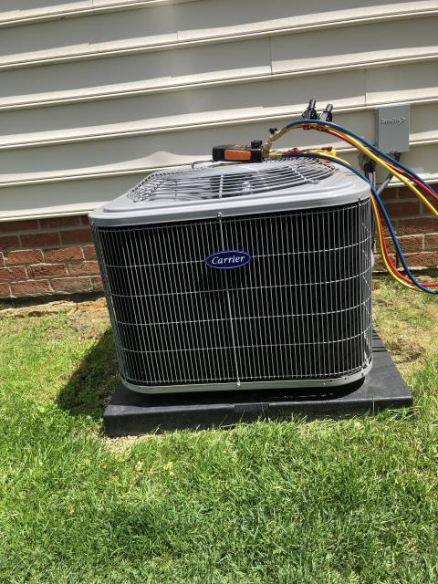 New Albany, OH - Tune-Up & Safety Check on a 2019 Carrier 13 SEER 3 Ton Air Conditioner. Unit is operating within manufacturer's specifications.