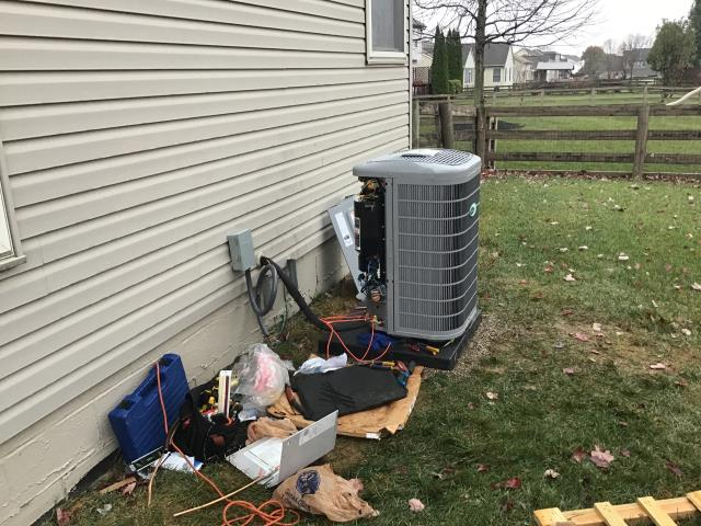 "Lewis Center, OH - Vibration noise from not having enough line set outside for the 2019 Carrier. Unit needs moved and suction line loop installed. Loop needs to be as close to suction service valve as possible needs to go up 12"" over 12"" and down 12"" into valve. Suction line vibration noise. Needs longer whip as well please allow 4 hours for repair."