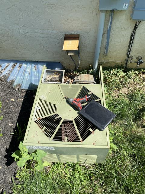 New Albany, OH - Replaced multi-tap compressor/ high voltage surge capacitor on AC for temporary comfort until the installation of new Carrier equipment. Pictured below is the older AC.