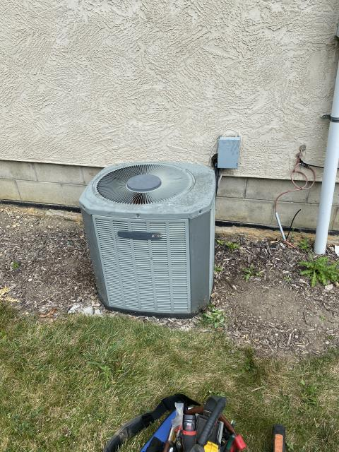 Hilliard, OH -  Tech heard very loud noise coming from 2003 Trane AC condenser. Found condenser fan motor making grinding noise. Added WD40 to fan and got noise to stop and informed customer it is ONLY TEMPORARY. Need to order new Blower Motor. Unit operational at time of departure.