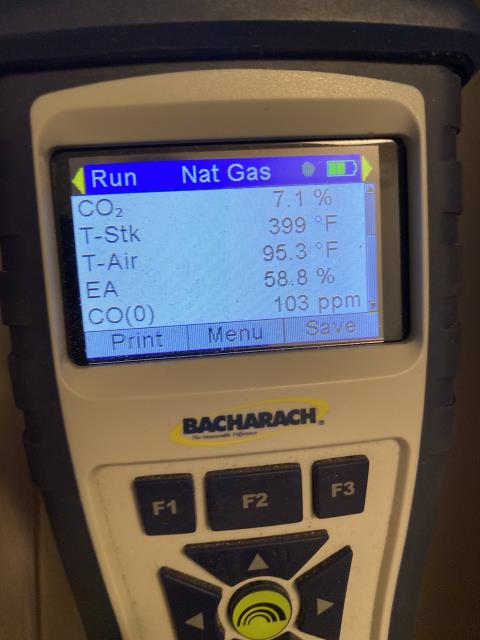 Dublin, OH - I explained system is oversized causing high stack temp and increasing CO in flu.I  turned gas pressures down . I uploaded picked of combustion analysis readings, once with evap door cracked and filter out, one with just the filter out, and one with the filter in to show the difference in CO reading and stack temp readings. I suggests to add a metal plenum and a register to dump heat in closet as cheapest solution. replace with proper sized furnace is best solution