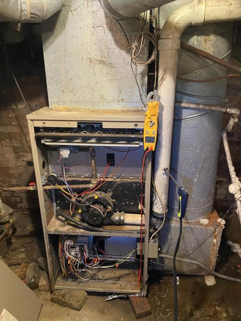 Etna, OH - I met with the client to answer questions regarding replacement of their Goodman gas furnace (see picture below) and air conditioner.  I then reviewed the estimate to install a new Carrier gas furnace with the client.