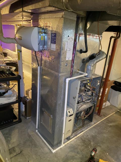 Upper Arlington, OH - I performed a diagnostic on a 21 year old 80% gas furnace. I found the variable speed blower motor with capacitor was bad. I went over replacement options with customer. Customer decided to replace furnace.