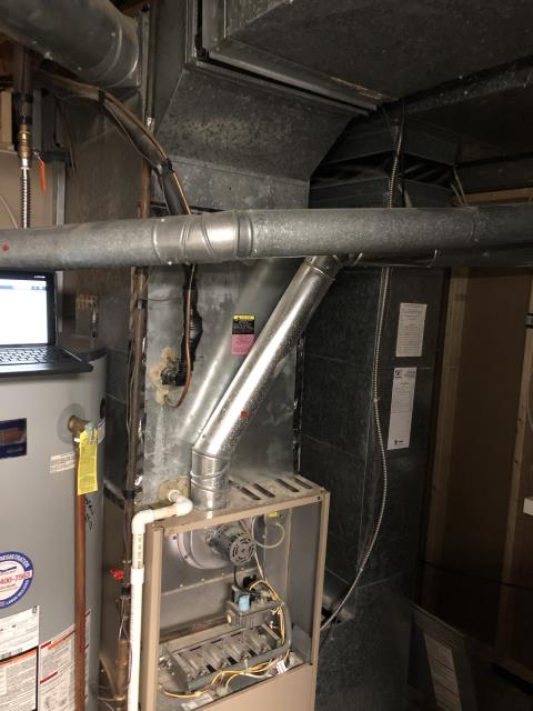 Powell, OH - I performed a diagnostic on a 20 year + Trane 80% gas furnace. Upon arrival I found furnace not operational. After further diagnostic discovered that the blower motor has failed, it is a 29 year old furnace, recommend furnace replacement. Customer is all set for a Tuesday morning installation. Furnace not operational at departure.