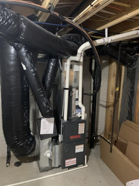 Delaware, OH - I was unable to recreate the noise the customer said they heard. I did fine the Goodman logo was loose on the furnace and removed it. I adjusted the gas pressure to within specs. System was operational upon departure.