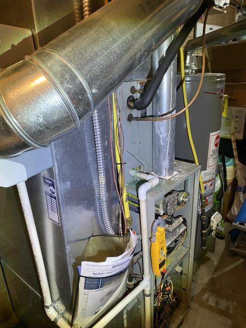 New Albany, OH - I found the blower motor surge capacitor had failed. I replaced the part with customer's permission. I also pulled and cleaned the flame sensor. I cycled the system to ensure functionality. System is operational upon departure.