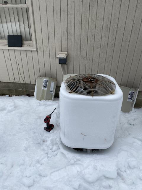 Dublin, OH - Upon inspection, I found the unit was frozen over. I informed the customer to switch the unit to emergency heat and once it thawed we could come work on it. System operating in emergency heat upon departure.