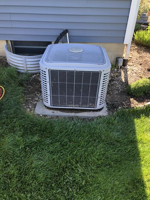 Pataskala, OH - I complete diagnostics on 12 year old AC unit. Upon arrival I could hear the system was short cycling. I jumped low and high pressure switches to test and found the system was low on Freon. Added Freon and the system was operational upon departure