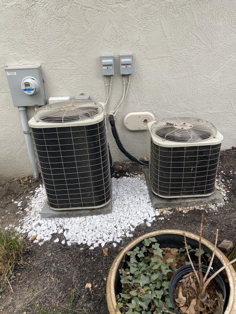 Lewis Center, OH - I moved 2 Air Conditioners to a new location at the request of the customer. I added Gravel to raise the systems and placed new pads under the systems. Both systems were operational at time of departure.