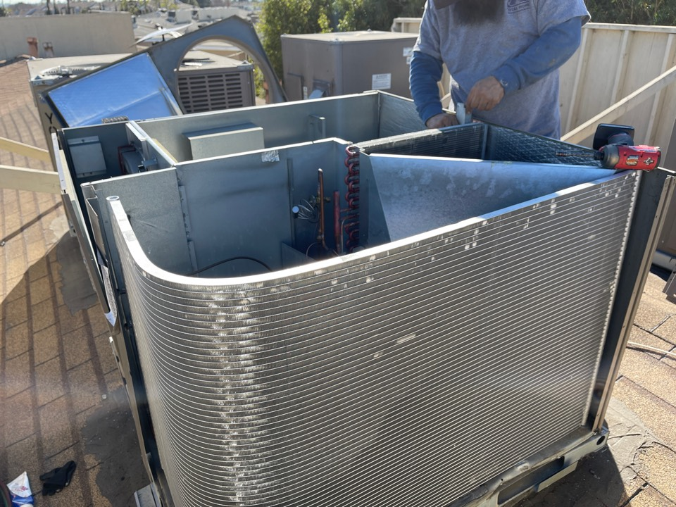 Inglewood, CA - Replaced both the condenser and evaporator coil on a package unit in Inglewood Ca