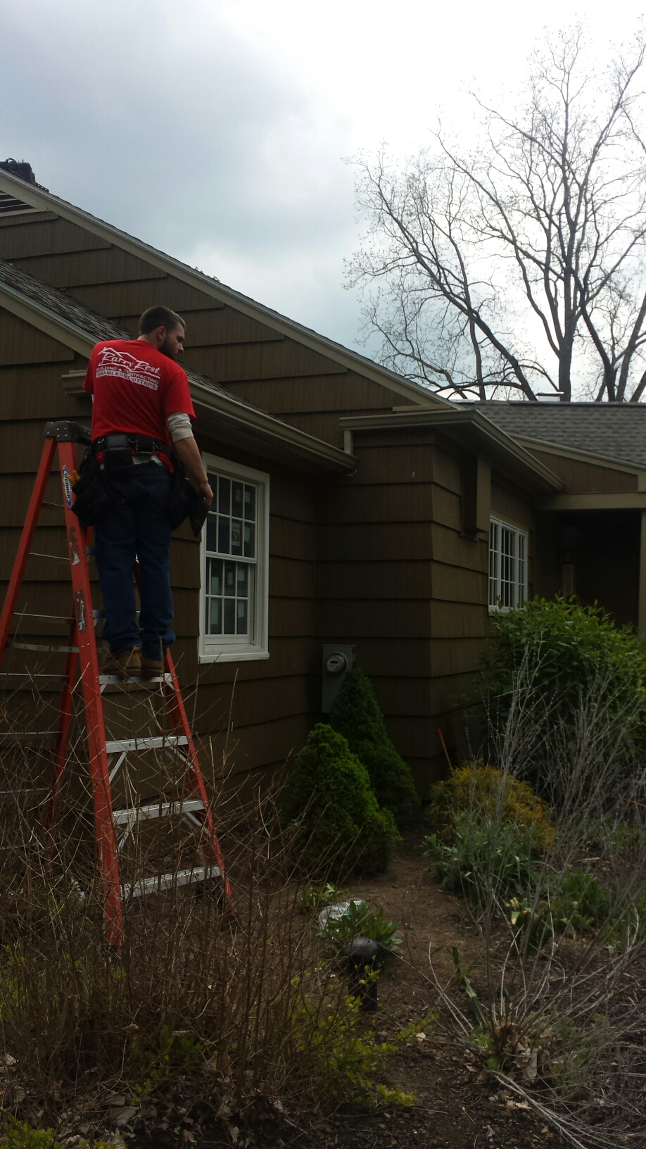 Manlius, NY - It's a flat-out beautiful day to install some seamless rain gutter
