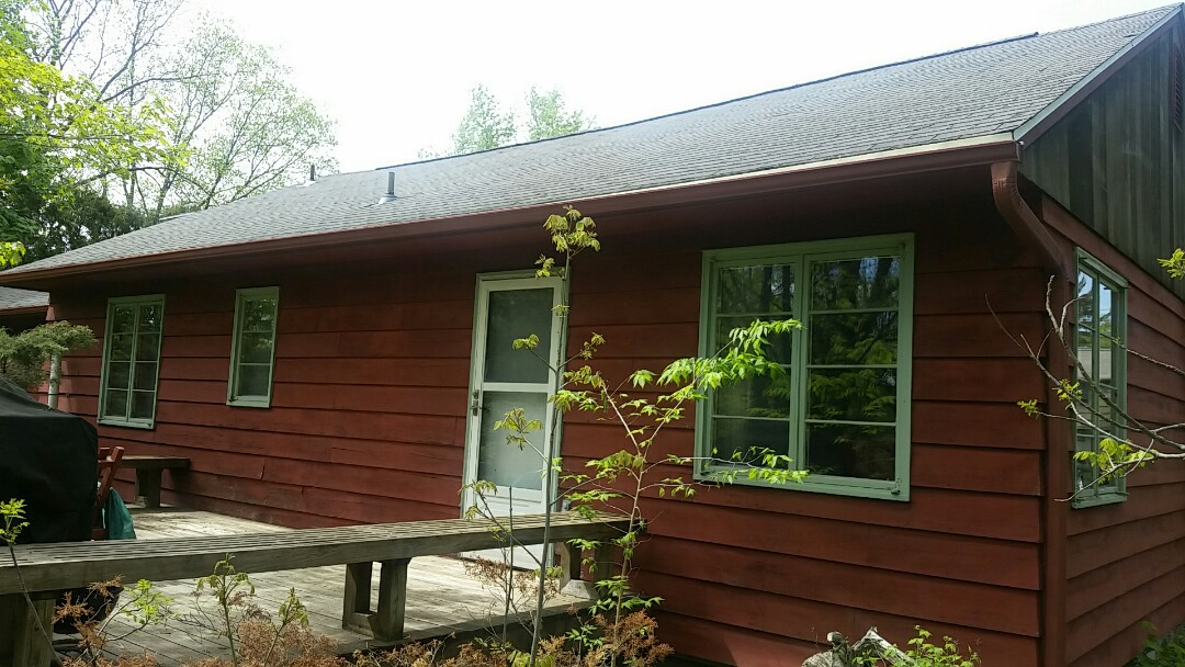 Manlius, NY - New seamless rain gutters in custom red color