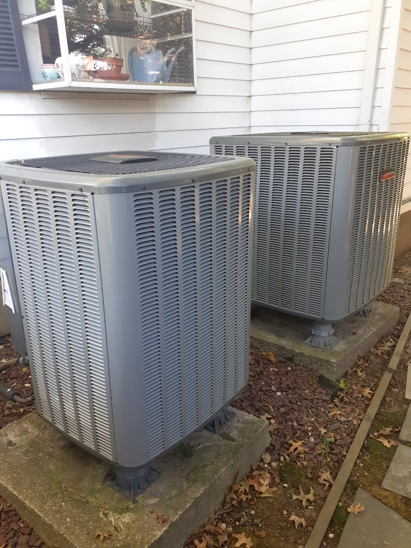 Morrisville, PA - Performed heat pump tune-up on an Amana unit and replaced two capacitors in Yardley PA