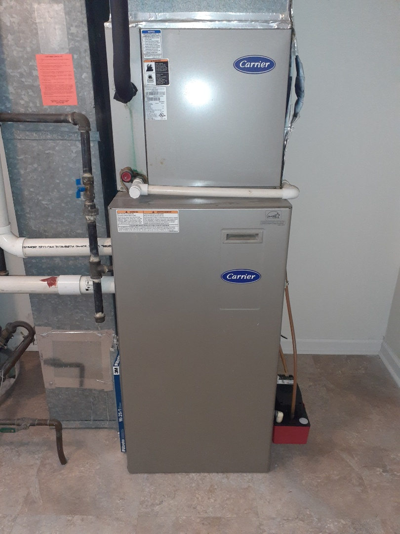 Langhorne, PA - Replaced condensate pump on Carrier air conditioning unit due to age checked operation system is operational at this time
